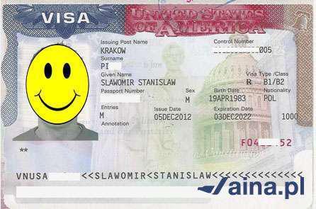 Przykładowa wiza amerykańska