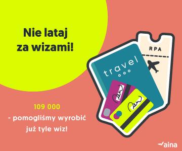 Aina Travel - napis: Nie lataj za wizami i 109 000 - pomogliśmy już wyrobić tyle wiz