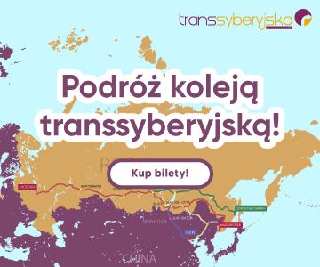 Mapa Kolei Transsyberyjskiej i napis: Podróż Koleją Transsyberyjską - kup bilety