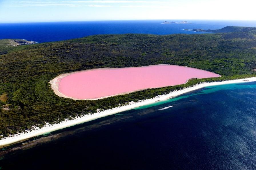 Jezioro Hillier, Australia. Jezioro charakteryzuje się wyjątkowym bladoróżowym kolorem. fot. Ockert Le Roux